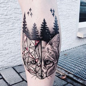 geometrical-fox-and-forest-tattoo